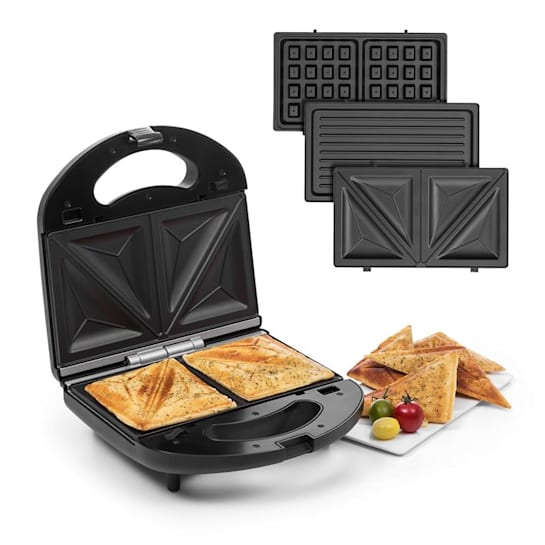 Trilit 3-in-1 Sandwich Maker 750W 3 Grillplatten LED Anti-Haft schwarz