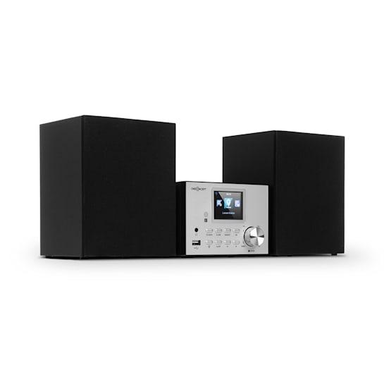 Streamo Stereoanlage mit Internetradio WLAN DAB+ UKW CD-Player BT silber
