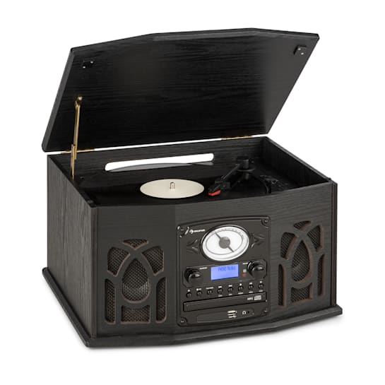 NR-620, DAB, stereo systém, dřevo, gramofon, DAB +, přehrávač CD, černý