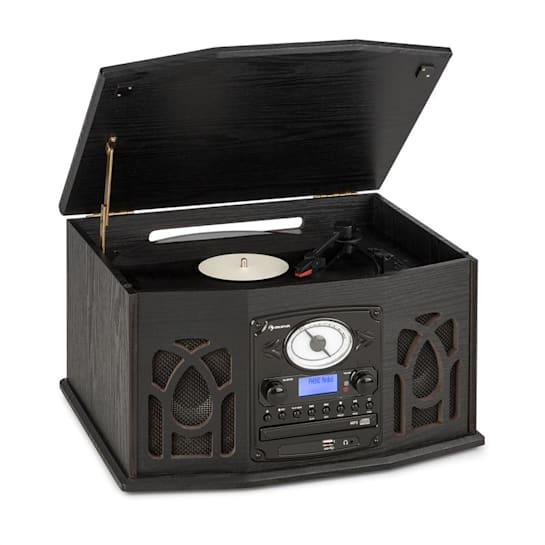 NR-620 DAB Stereoanlage Holz Plattenspieler DAB+ CD-Player schwarz
