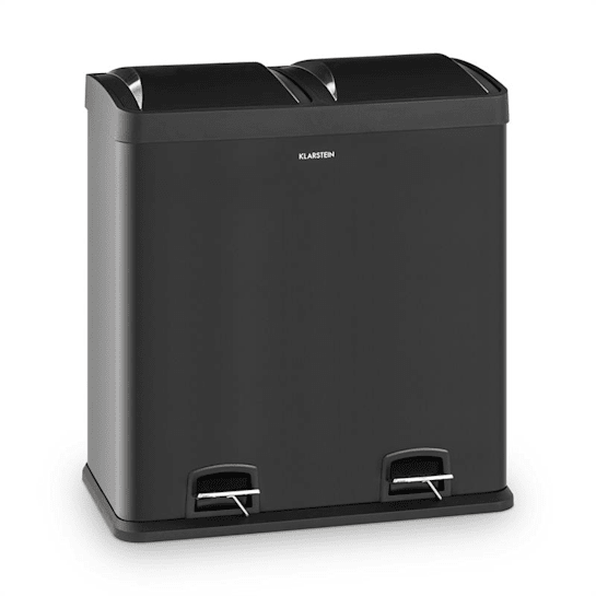 Johnny Trash Pedal Bin 60L / 2x30L PP Stainless Steel Black