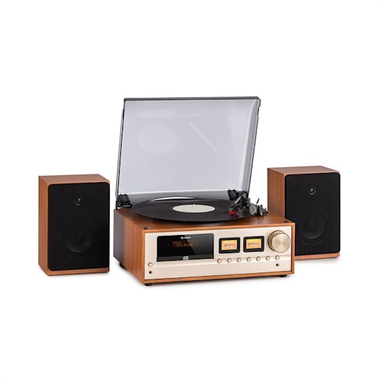 Oxford Retro-Stereoanlage DAB+/FM BT-Funktion Vinyl CD AUX-In Champagner