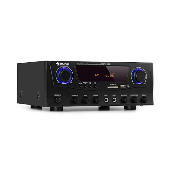 Amp-2 BT Hifi Amplifier 2x50 W BT USB SD 2 x Mic Black