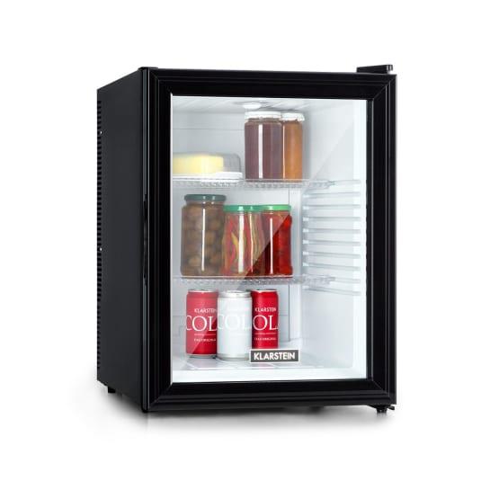 Brooklyn 42 Kühlschrank EEC A Kunststoff-Einsatz Glastür weißer Innenraum schwarz