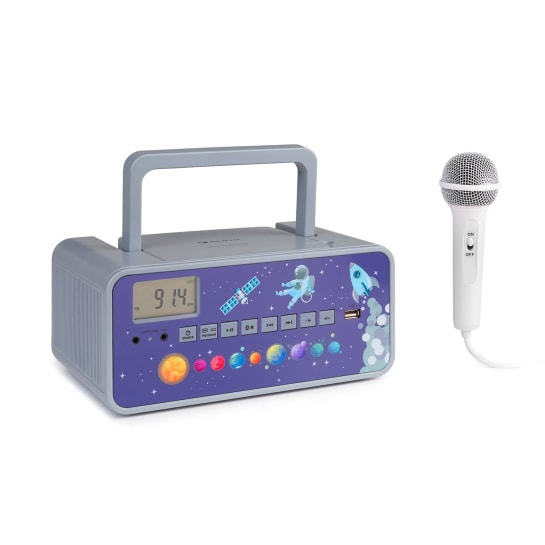 Kidsbox Space CD Boombox Lettore CD BT FM USB Display LED grigio