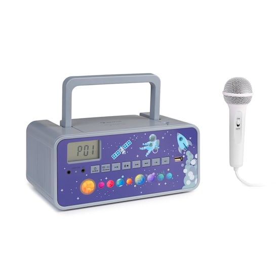Kidsbox Space CD Boombox, CD přehrávač, bluetooth, FM, USB, LED display, šedý