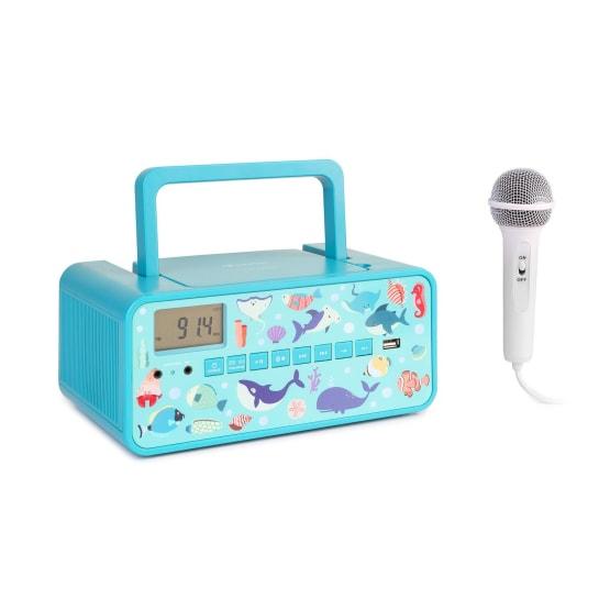 Kidsbox Underwater CD Boombox Lettore CD BT FM USB Display LED turchese