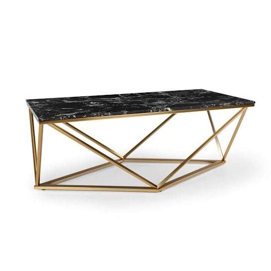 Black Onyx I Coffee Table 110x42.5x55cm (WxHxD) Marble Gold / Black