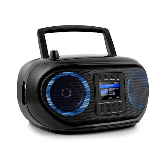 Roadie Smart Boombox Internetradio DAB/DAB+ UKW CD-Player LED WiFi Bluetooth schwarz