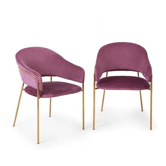 Salma, pár jedálenských stoličiek, zlatý, chrómovaný kovový rám, fialové