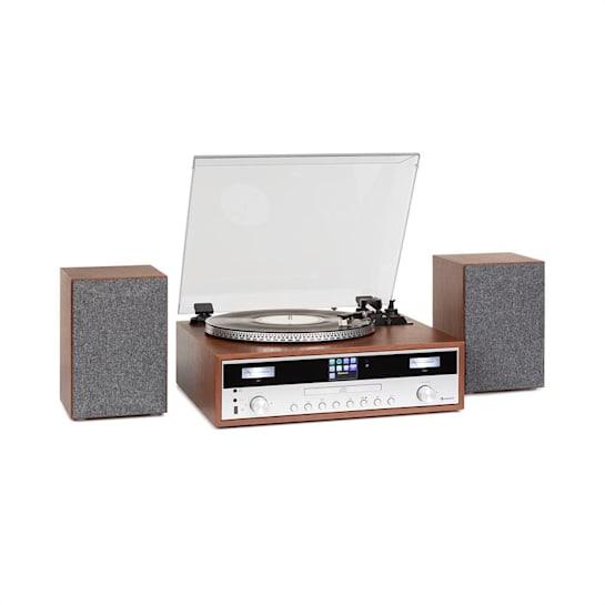 Birmingham Sistema Estéreo HiFi DAB+/FM BT Função Vinil CD USB Entrada AUX Madeira