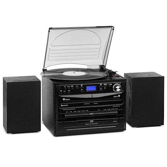388-DAB + Stereo System 20W max. Vinyl CD Cassette BT FM / DAB + USB SD Black