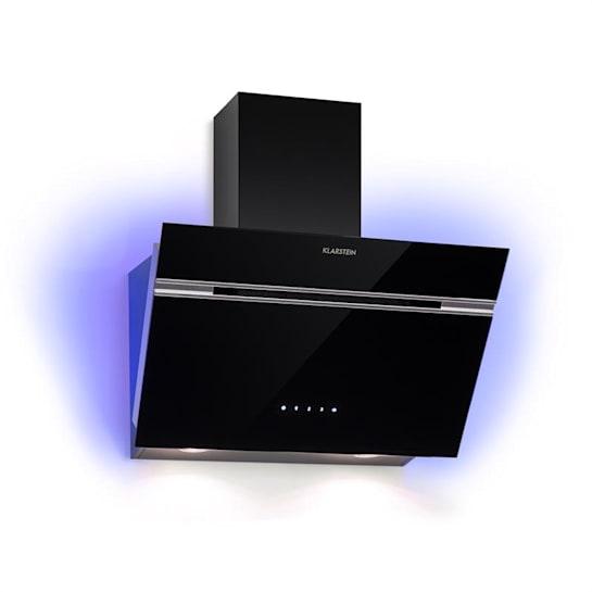Alina Dunstabzugshaube 60 cm 600 m³/h LED-Display Ambientelicht Glasfront schwarz