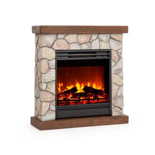 Lienz Electric Fireplace 1800W Stone Decor Remote Control Brown