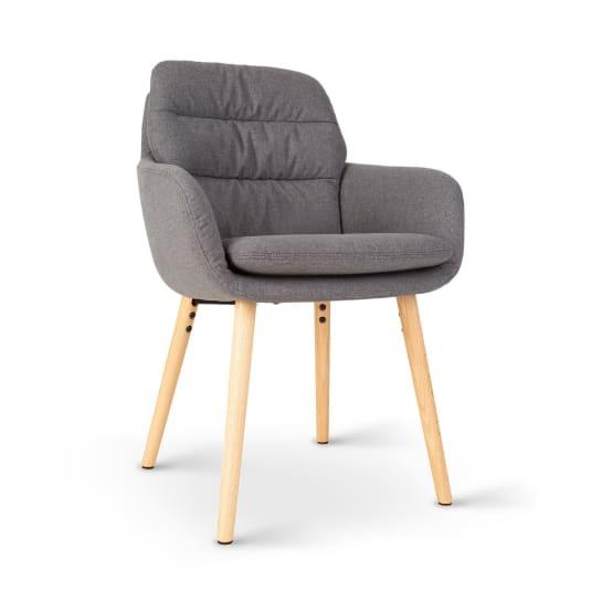 Doug, čalúnená stolička, penová výplň, polyester, drevené nohy, tmavosivá