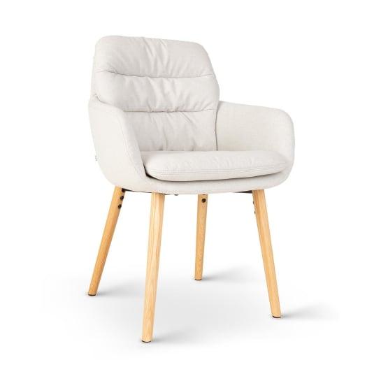 Doug, čalúnená stolička, penová výplň, 100 % polyester, drevené nohy, krémová