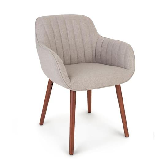 Iris -tuoli vaahtomuovipehmuste polyesteripäällinen puujalat meleerattu harmaa