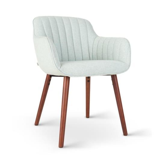 Iris, čalúnená stolička, penová výplň, polyesterový poťah, drevené nohy, svetlozelená