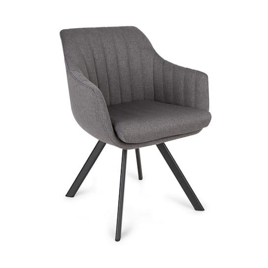 Roger, čalúnená stolička, penová výplň, polyester, oceľové nohy, tmavosivá