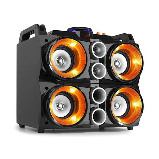"""MDJ200 Party Station 150W 4 altoparlanti da 4"""" con batteria da 2000mAh nero/arancione"""
