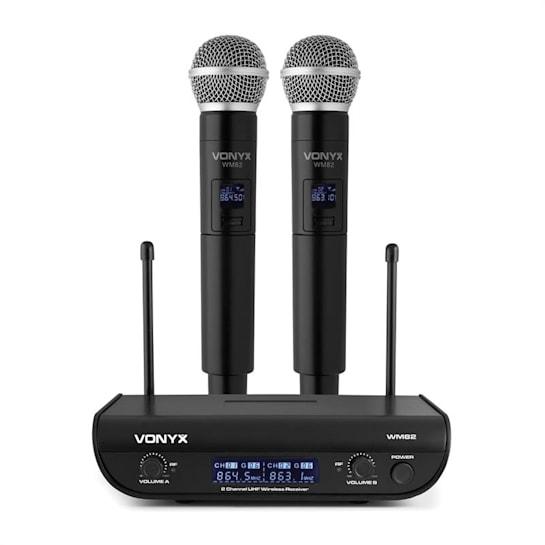 WM82 Digital 2-Kanal-UHF-Funkmikrofon System 2xHandmikro 50m schwarz