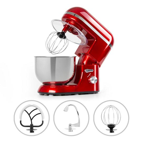 Bella Elegance Küchenmaschine 1300W 1,7PS 6 Stufen 5 Liter rot