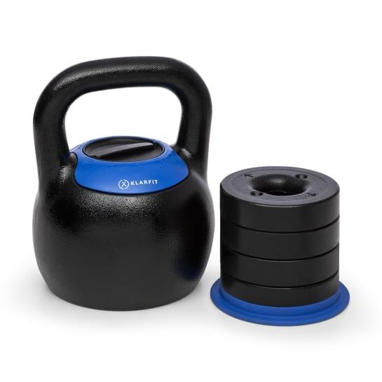 Adjustabell Verstellbare Kettlebell 16/18/20/22/24 kg schwarz / blau