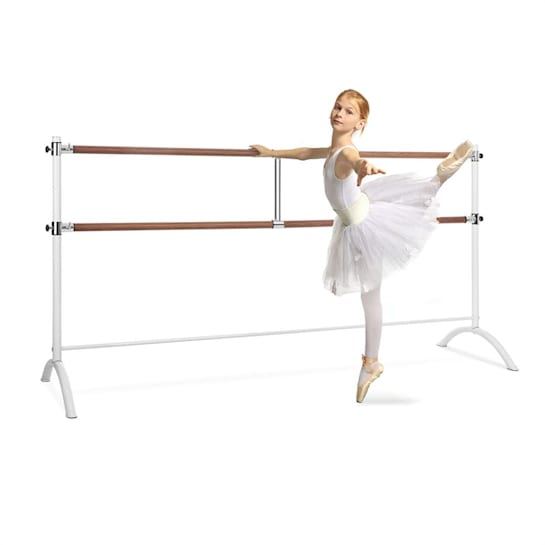 Barre Marie, dvojitá baletná tyč, 220 x 113 cm, 2 x 38 mm Ø, biela