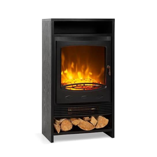 Bergamo, elektrický krb, 900/1800 W, termostat, drevený vzhľad, čierny
