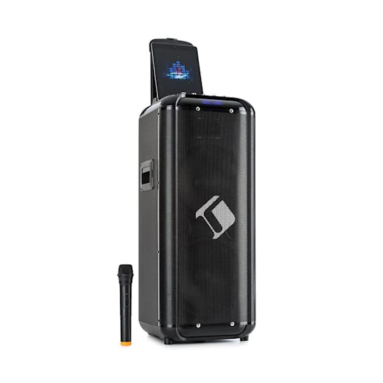 """Moving 2100 PA System 2x10"""" Woofer 100/300W UHF Micro USB SD BT AUX portable"""