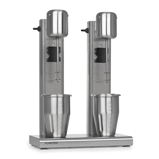 Kraftpaket II Doppel-Milchshake-Mixer Proteinshake 160W 2 Stufen Edelstahl silber