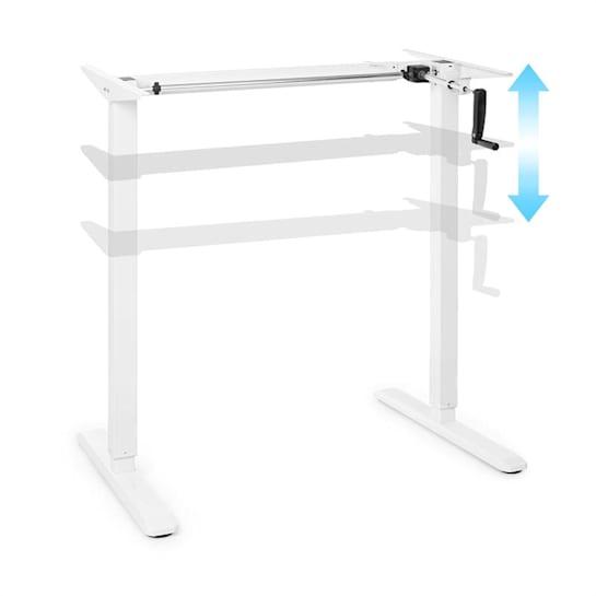 Multidesk, birou reglabil în înălțime, manual, 73-123 cm, alb