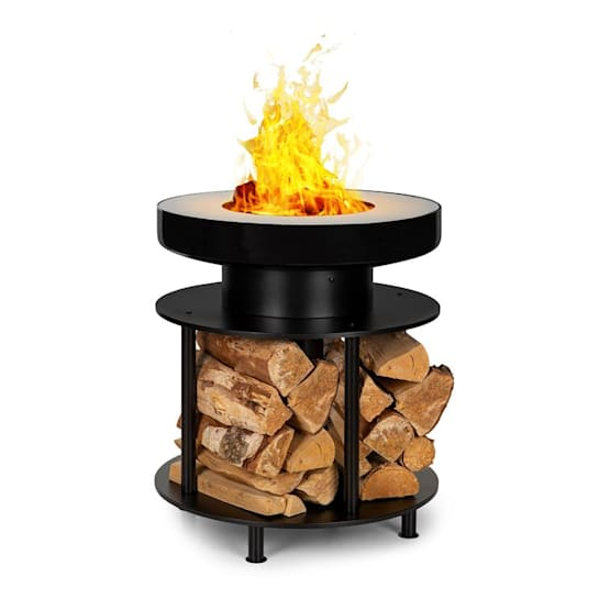 Wood Stock 2-in-1 Fire Bowl BBQ Grill Ø56cm Stainless Steel Black