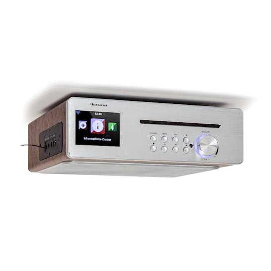 Silverstar Chef kelloradio keittiöön 20 W max. CD bluetooth USB internet/DAB+/FM hopeanvärinen