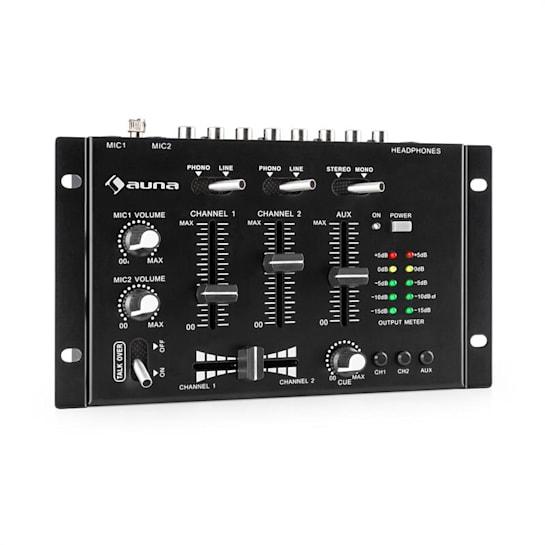 TMX-2211 MKII DJ-Mixer 3/2-Kanal Crossfader Talkover Cue Rack-Einbau schwarz