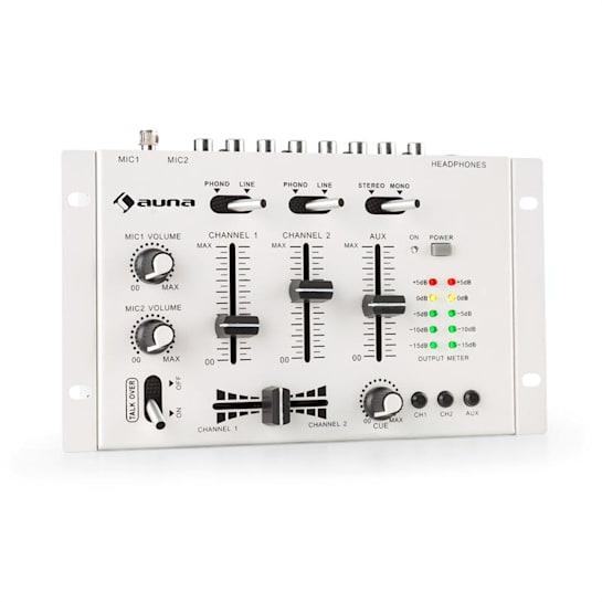 TMX-2211 MKII DJ-Mixer 3/2-Kanal Crossfader Talkover Cue Rack-Einbau weiß