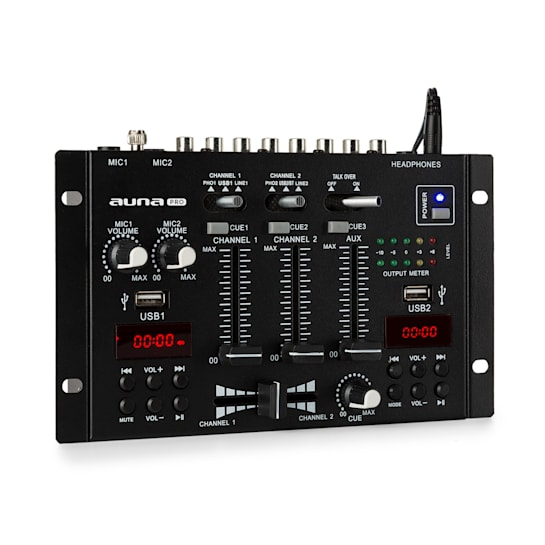 DJ-22BT, MKII, mixér, 3/2 kanálový DJ mixážní pult, BT, 2x USB, montáž na rack, černý