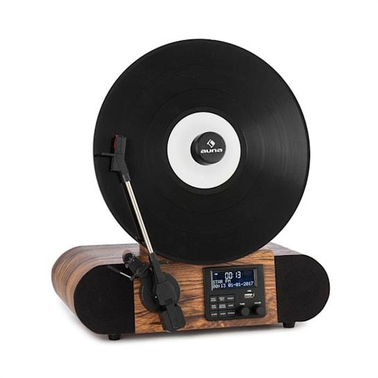 Verticalo SE DAB Giradischi Rétro DAB+ FM USB BT AUX legno