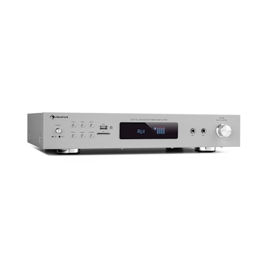 AMP-9200 BT Digital Stereo Amplifier 2x60W RMS BT 2 x Mics Silver
