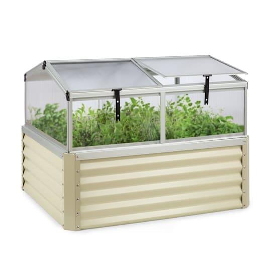 High Grow Advanced, povišena cvjetna gredica s krovom, 120x95x100cm, 540l, čelik, bež
