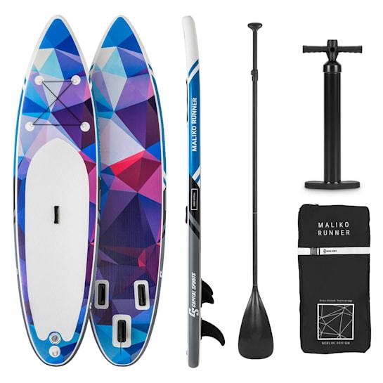 Maliko Runner SUP-Board - Aufblasbares Paddleboard Set 305x10x77 blau/rot