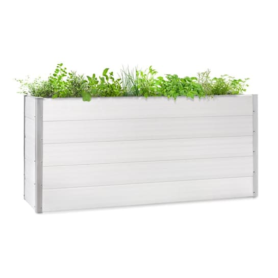 Nova Grow Gartenbeet 195 x 91 x 50 cm WPC Holzoptik weiß