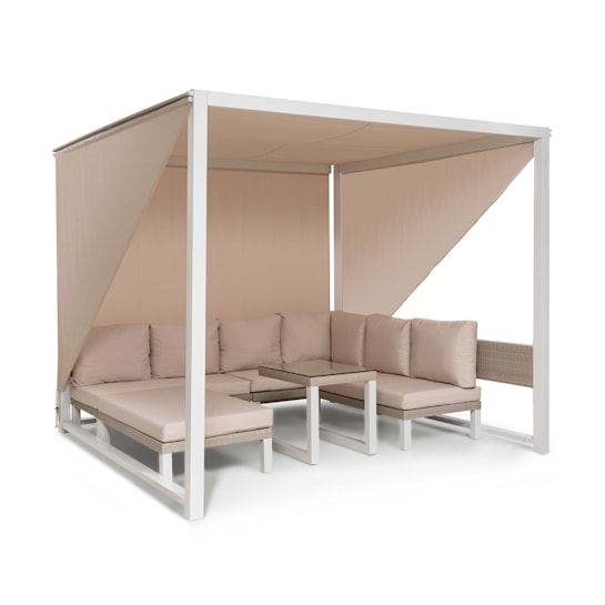Havanna Pavillon & Lounge-Set 270x230x270cm 4 Zweisitzer Stahl Polyrattan