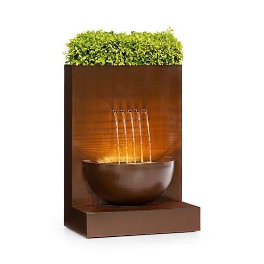 Windflower Fontana con Vaso per Piante 11W Metallo Zincato marrone