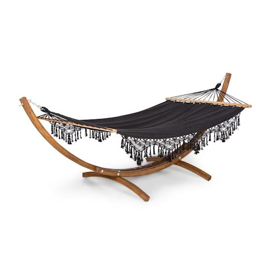Bali Swing -riippumatto lehtikuusi max. 160 kg 320 g/m² musta