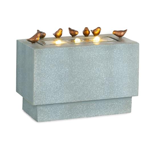 Waterbirds Gartenbrunnen LED 60 x 47 x 30 cm Zement Aluminium grau