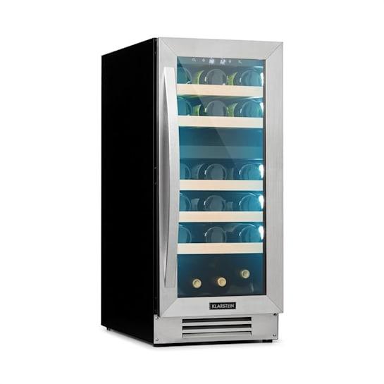 Vinovilla 29 Built-In Duo Weinkühlschrank | Einbau | 2 Zonen | 29 Flaschen / 74 Liter | Glastür | RGB Innenbeleuchtung | 5 Buchenholzeinschübe | Anti-Vibration | Touch | EEK B