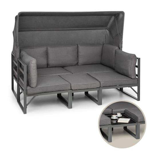 Ravenna Set di Mobili Lounge da Giardino 4pz. Variabile Alluminio antracite