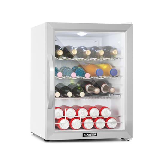 Beersafe XL Crystal White Kühlschrank A++ 60L LED 2 Metallroste Glastür weiß/silber