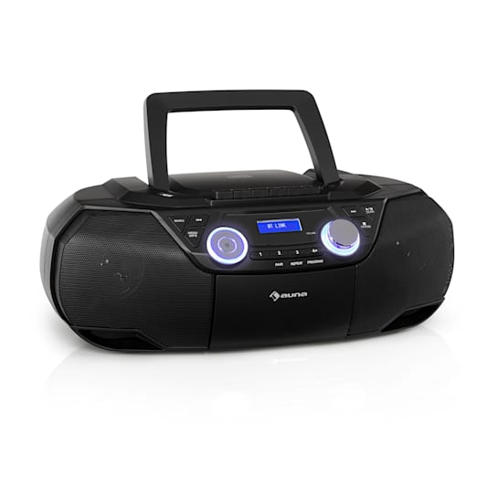 Roadie 2K -boombox CD-soitin kasettisoitin DAB/DAB+ FM Bluetooth musta
